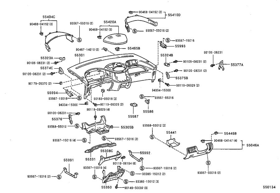 Diagram INSTRUMENT PANEL & GLOVE COMPARTMENT for your Toyota Previa